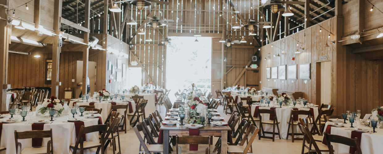 Tables and chairs inside barn