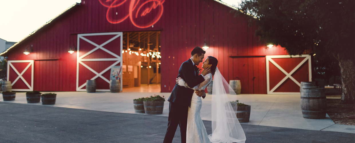 Barn at Night with Bride and Groom