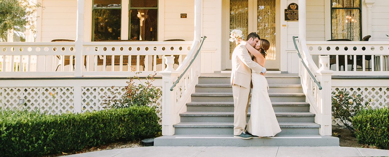 Bride and groom in front of Ranch House